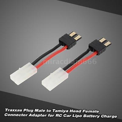 2Pcs Traxxas Plug Male to Tamiya Head Female Connector Adapter for RC Car J9N9