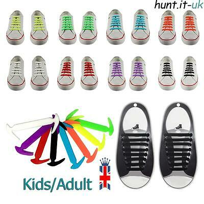 Easy No Tie Elastic Lace Shoe 100% Silicone Trainers Shoes Kids Adult Shoelaces