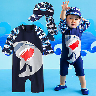 "Vaenait Baby Toddler Boys Swimwear Cap Bathing Suit ""Cooling jasw baby"" 0-24M"