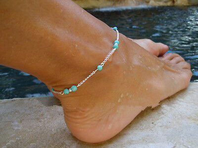 Turquoise Beads Anklet Ankle Silver Chain Foot Bracelet Jewelry for Summer Beach