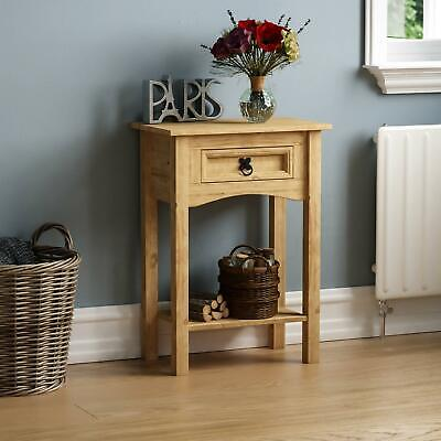 Corona Console Table With Shelf 1 Drawer Mexican Solid Waxed Pine Furniture Unit