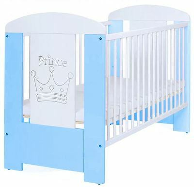 New Premium Cot Bed Blue Prince Teething Rails Mattress Included Adjustable Base