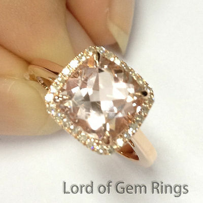 Solid 14K Rose Gold 8mm Cushion Morganite Engagement Promise Ring Halo Diamonds