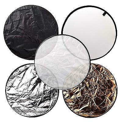 """5 In 1 Round Collapsible 60cm 24"""" Lighting Diffuser Reflector Multi Disc + Bag"""