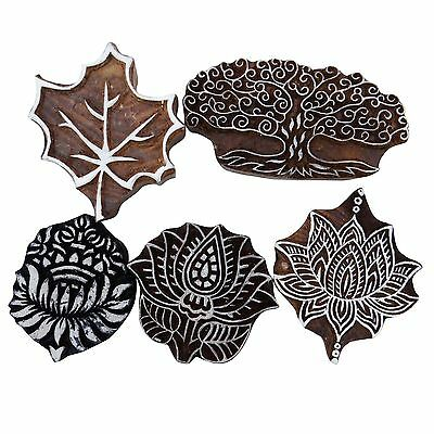 Hand Carved Wooden Printing Block Deocrative Textile Border Stamp Lot Of 5 Pcs