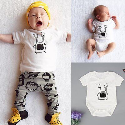 Newborn Toddler Kid Baby Boy Girl Cotton Romper Jumpsuit Bodysuit Clothes Outfit