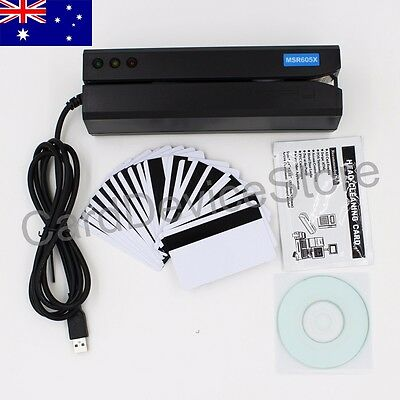 USB-Powered 3-Track Magnetic Strip Card Reader Writer Swipe Mag MSR605X MSR606