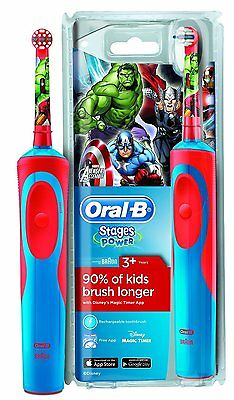 Child Oral-B Stages Vitality Avengers Electric Rechargeable Toothbrush For Kids