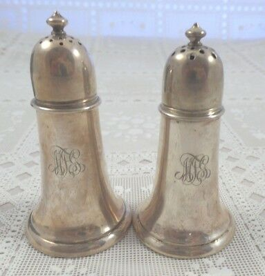 "Sterling Silver Salt & Pepper Shakers Gorham  Approx 4"" tall 98 grams no dents"