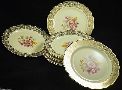 "GORGEOUS  W. S. George Lido Canarytone 7"" Plates Gold Filigree Set of 8"