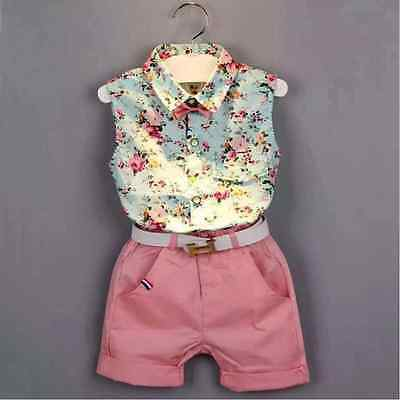 Baby Girl's Summer Sleeve less Top+Short Pant+Belt suit 3 PCS Set Outfit