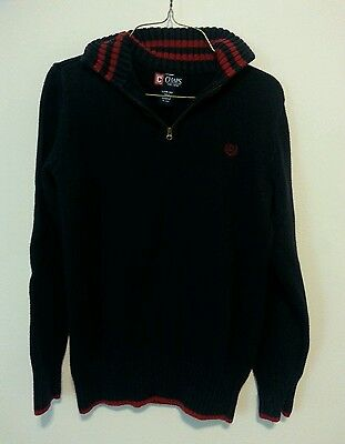 Boys Youth Chaps 1/4 Zip Up Sweater Navy Blue Size L Large
