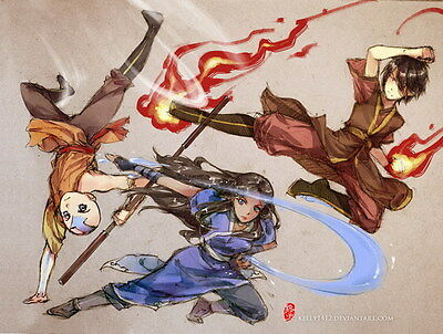 """154 Avatar The Last Airbender - Aang Fight Japan Anime 19""""x14"""" Poster"""
