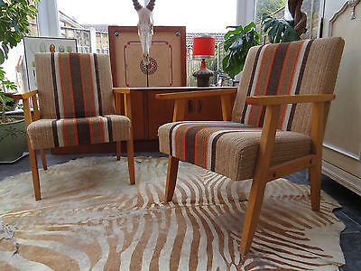 Pair Of Striped East German / Danish Style Cocktail Lounge Armchairs 1970 M16/5J
