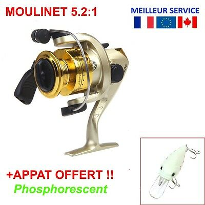 Moulinet Pêche Mer 3BB 5.2:1 Fishing Reel Spinning 3 Roulements + Leurre Appât