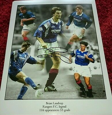 """Brian Laudrup signed 16x12"""" montage COA"""