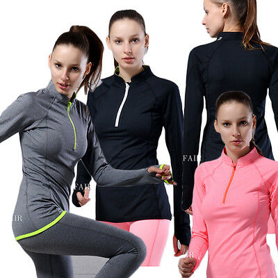 Women Long Sleeve Half Zipper Front  Athletic Pullover Workout Yoga Shirt Top