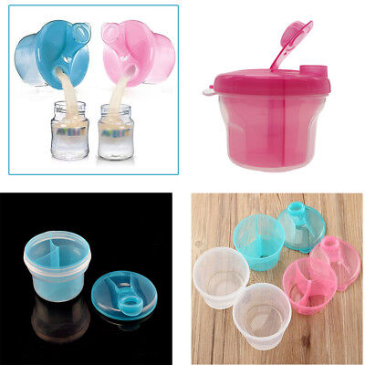 Baby Infant Milk Powder Formula Dispenser Portable Container 3 Compartment Box