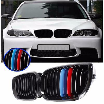 Pair Gloss Black M-color Front Kidney Grille Grill For BMW E46 4D 3 Series 02-06