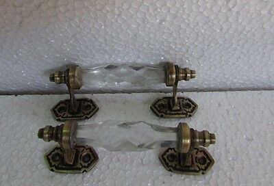 2 Pc Vintage Style Rare Brass White Cut Glass Victorian Engraved Door Handles