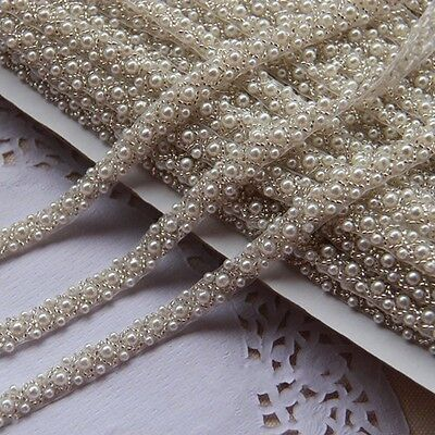1 Yard Pearl Beaded Applique, Bridal Accessories Crystal Trim Pearl Beaded