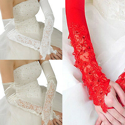 Women's Opera Bridal Stretch Satin Lace Fingerless Applique Wedding Gloves