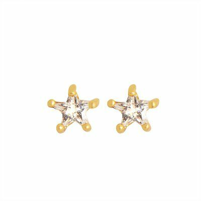 Tiny toddler girls baby Star Stud Earings earrings Gold Filled Clear Crystal