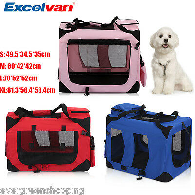 Foldable Fabric Soft Dog Cat Cage Carrier Pet Travel Crate Kennel House S M L XL