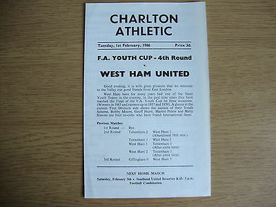 1965/6 Charlton Athletic v West Ham United WHU FA Youth Cup 4th Round -EXCELLENT