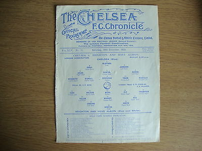1929/30 Chelsea Reserves v Brighton & Hove Albion Reserves - VERY GOOD CONDITION