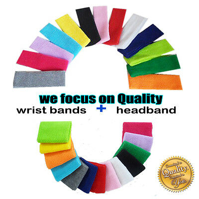 A pair Wristbands  Headband Sweatbands Sweat Band for Sport Tennis Badminton
