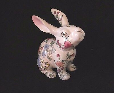 Antique Chinese Oriental Porcelain Famille Rose Rabbit Hare Figurine WBI 50's-60