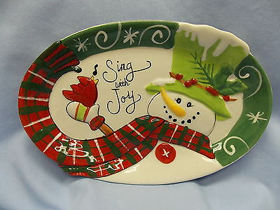Fitz & Floyd Holly Hat Snowman Christmas Canape Plate 10X6 1/2  Porcelain In box