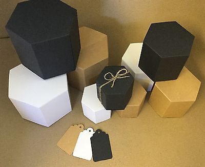 Eco  Kraft, White or Black hexagonal candle or gift boxes please check dimension