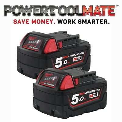 Milwaukee M18B5 X2 *TWIN PACK* 18v 5.0Ah Li-ion Batteries - Genuine