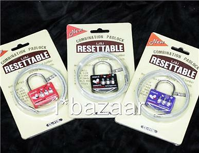 3 x Long WIRE Security Padlock Travel Combination Lock