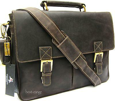 Briefcase Messenger Bag Real Leather Oiled Brown Large Visconti Berlin 18716 New