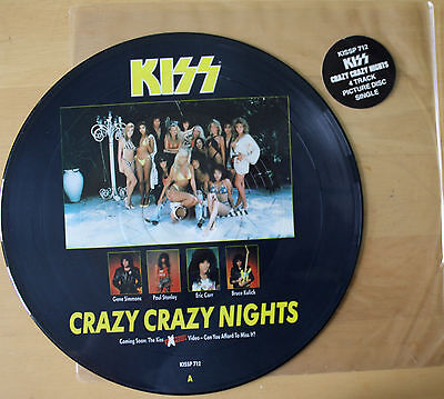 """Kiss Crazy Nights / Heavens On Fire Tears Are Falling 12"""" Vinyl Picture Pic Disc"""