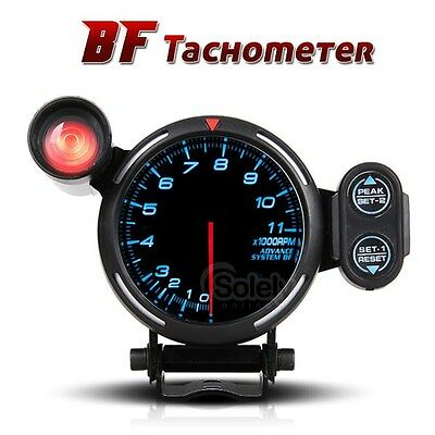 "3 3/4"" Smoked Black Face BLUE LED Illumination Rev Gauge Tachometer Shift Light"