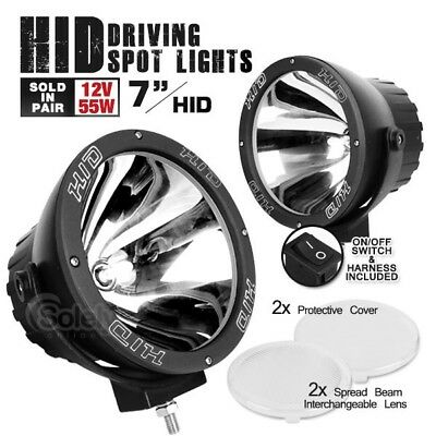 "Pair 7"" HID Xenon 4x4 Off Road Driving Spot Flood Lights Spread Pencil Beam 55W"