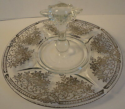 Paden City Sterling Silver Overlay Spire Glass Center Handle Serving Tray 1940's