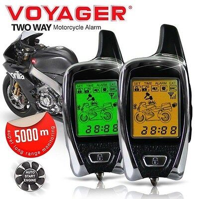 VOYAGER 5KM 2 Way Pager Remote Engine Start Bike Motorcycle Alarm + Immobiliser