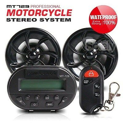 MT729 Motorcycle Bike Handle Bar Audio Stereo System Radio MP3 Player + Alarm
