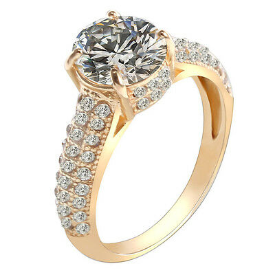 Newly 18K Gold Diamond Rings For Women Wedding Engagement Crystal Jewelry Gift