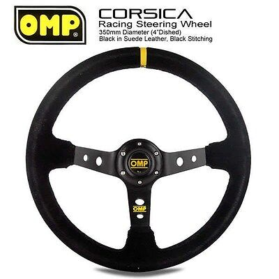 350mm OMP Corsica Deep Dished Black Suede Leather Sport Racing Steering Wheel