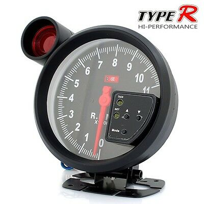 "New 5"" Black Monster Tachometer Silm Profile Red Blacklit & Shift Light"