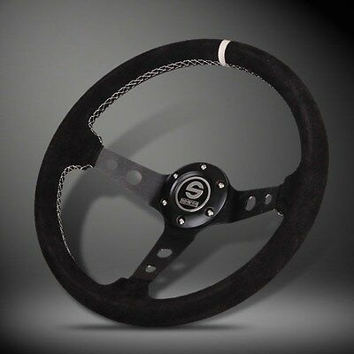 BRAND NEW 350MM Sparco Suede Leather Sport Racing Steering Wheel w Horn
