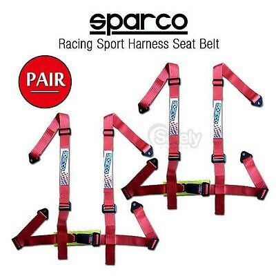 2x ! New JDM 4 Point Racing Sport Harness Seat Belt RED