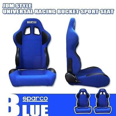 2 Pc (Pair) JDM Blue Fabric Reclinable Bucket Racing Sport Car Seat with Rails