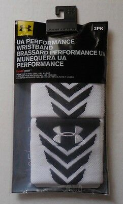 UNDER ARMOUR Unisex Performance Wristbands White/Black Set of 2 Size OSFM New